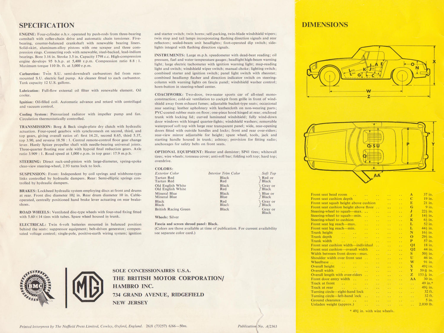 1967 Mg Mgb Roadster Brochure Specification Page 1967 Mgb Gt