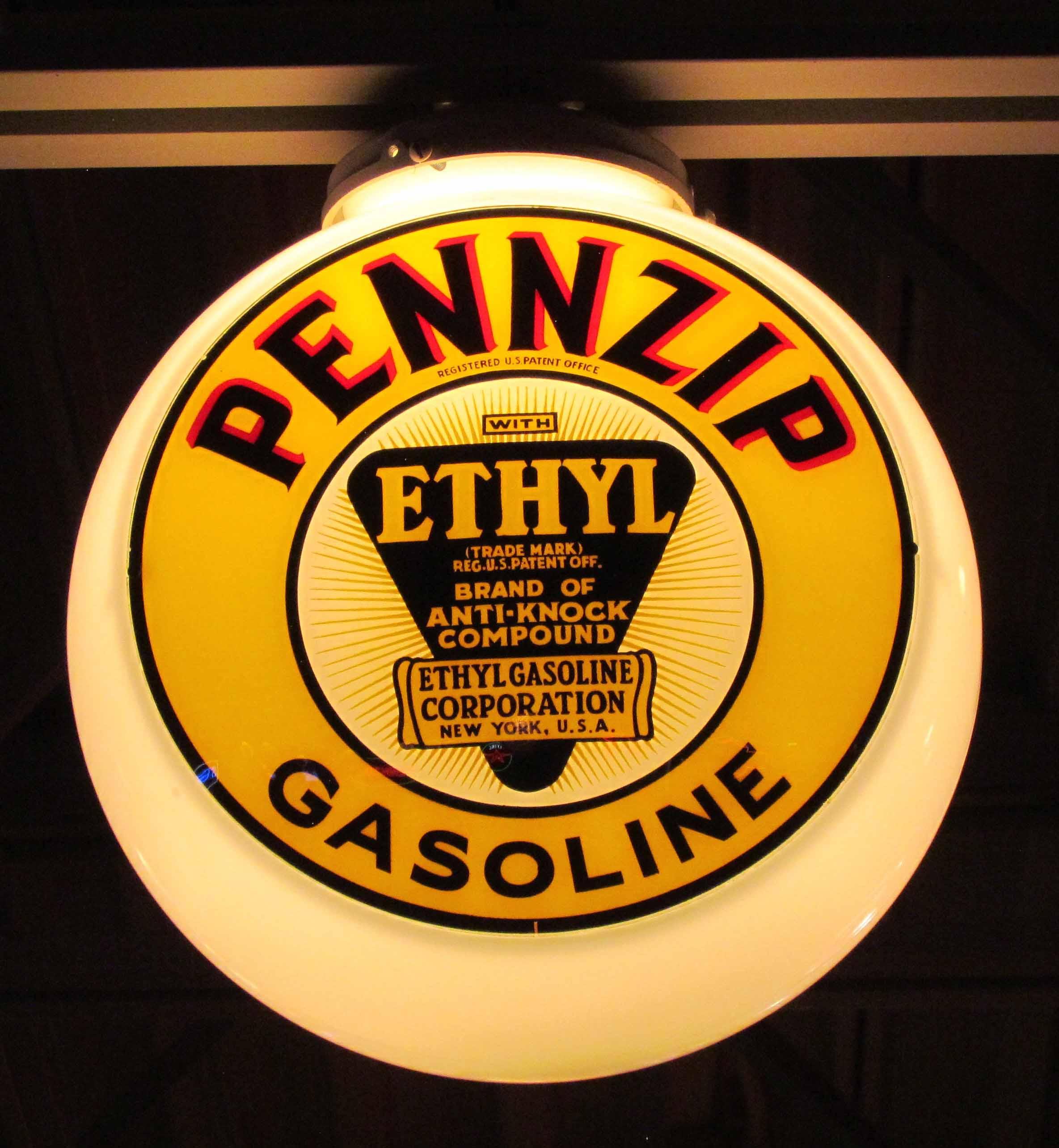 Pennzip Ethyl Gasoline Vintage Gas Pump Globe