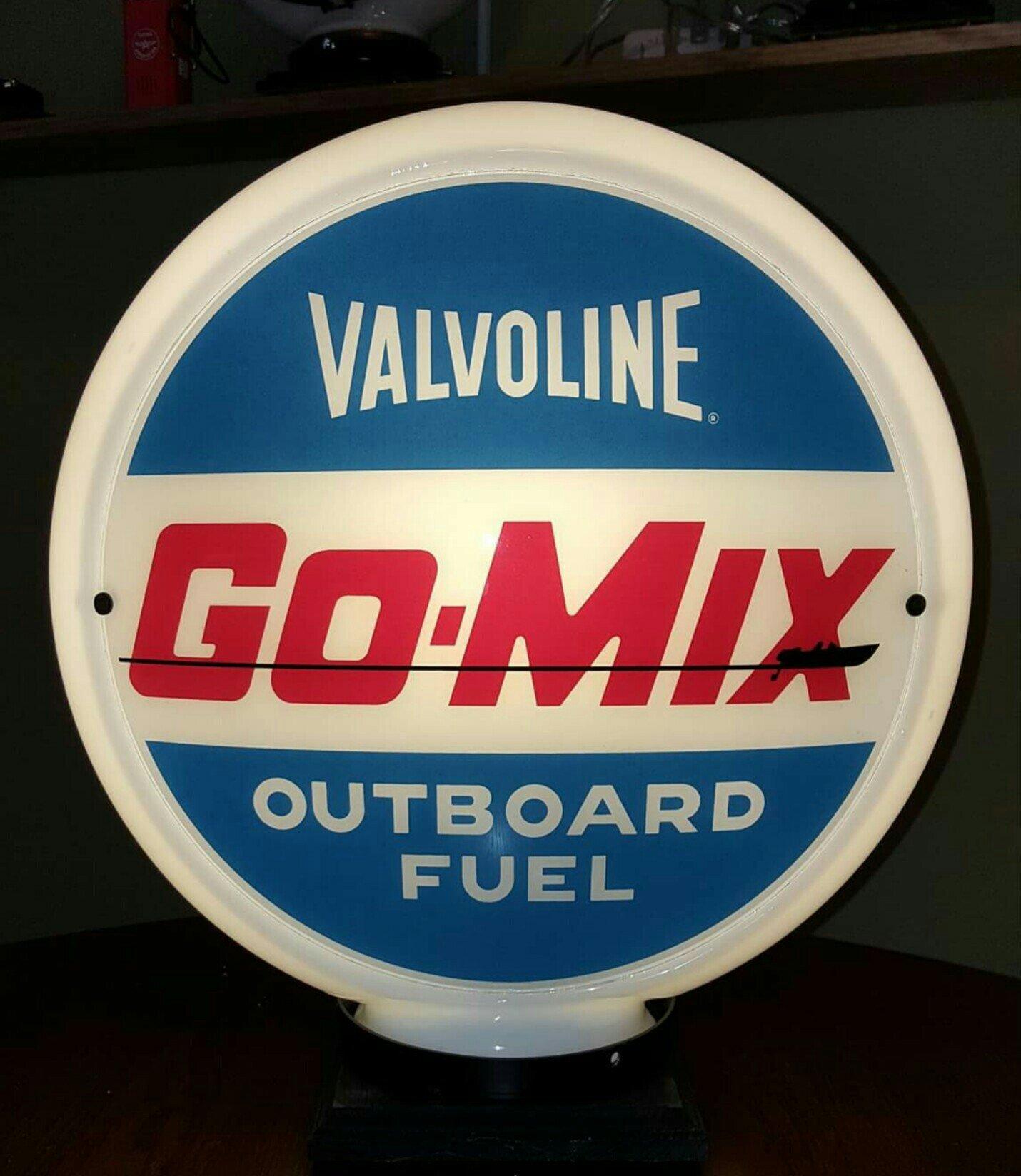 Valvolene Go Mix Outboard Fuel Vintage Gas Pump Globe