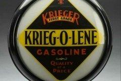 Krieg-O-Lene Gasoline Vintage Gas Pump Globe