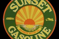 Sunset Gasoline Rainbow Motor Oil sign