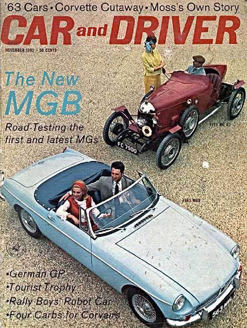 1963 MGB on the cover of Car and Driver magazine, November 1962 ...
