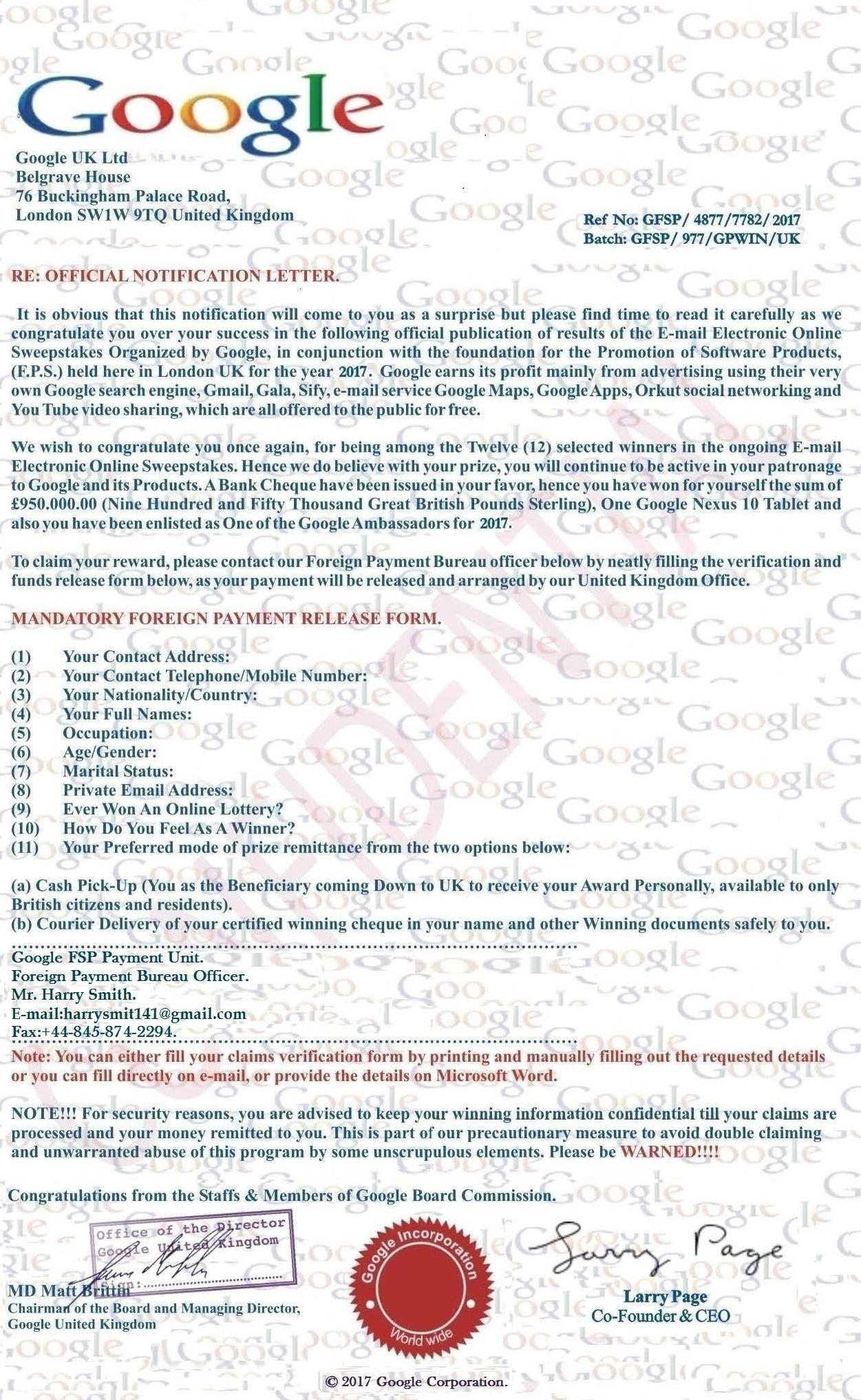 Google Award Letter   Mgb Gt